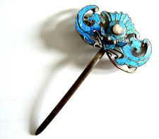 Qing Dynasty Kingfisher Feather Hair Pin Antique VINTAGE Blue Chinese Ca. 1850