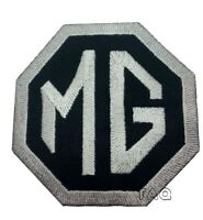 MG Motors Embroidered Logo Crest Badge Iron /Sew On Patch  Badge Black