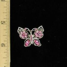 Antique Silver Look Crystal Butterfly Pin