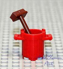 NEW Lego Minifig RED TRASH BIN & BROWN BROOM - City Garbage Barrel Container Can