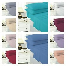 Cotton Blend Fitted Easy Care Single Double Kingsize SuperKing Plain Bed Sheet
