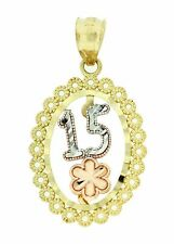 14k 3 Tone Solid Gold Sweet 15 Anos Oval Pendant Charm Dije de Oro 27 x 15 mm