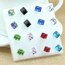 New 8Pairs Women Cube Charm Rhinestone Crystal Ear Stud Earring Jewelry Gift 6MM