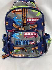 Pottery Barn Kids mini backpack transportation gray navy monogram Camden