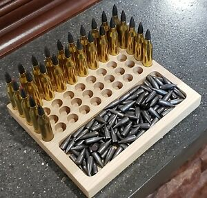 6 MM CREEDMOOR - RELOADING TRAY- CNC CUT HARDOOD HICKORY WITH BULLET TRAY