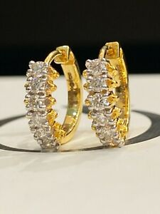 Pave 0.32 Cts Round Brilliant Cut Natural Diamonds Hoop Earrings In 750 18K Gold