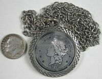 Vintage 1970's Silvertone Necklace With 1776 Coin Pendant