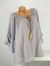 Tunika Bluse grau Retro Leder Perlen Lagenlook Hippi crash one size 44 - 52  D