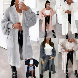 New Ladies Womens Long Maxi Knit Cardigan Long Balloon Sleeve Open Knitted Tops