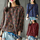Plus M-5XL ZANZEA Women Retro Floral 3/4 Sleeve Casual Top Pullover Shirt Blouse