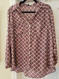 EXPRESS Original Fit Portofino White and Red Shirt Blouse XL
