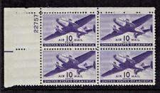 1941-4  U.S. CLASSIC AIRMAIL 10c Transport PLT#BLK of 4 Sc#C27 M/NH/OG* PRISTINE