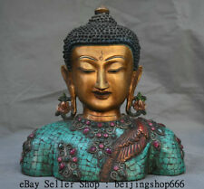"10"" Old Tibetan Bronze Gilt Turquoise Gem Shakyamuni Amitabha Buddha Bust Statue"