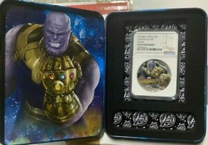 2018 MARVEL AVENGERS: INFINITY WAR - THANOS 2 OZ. SILVER COIN NGC PF69 ANTIQUED