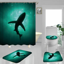 Sea Green Shark Door Bath Mat Toilet Cover Rugs Shower Curtain Bathroom Decor