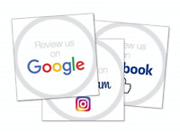 3 Stickers - Labels Review us on Facebook, Review us on Google, Follow us on