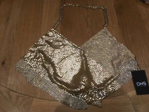 OHS Clothing Size L (Uk 10-12) Sequin Bralette Top, BNWT With Matching Earrings