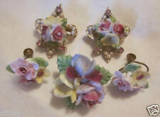 Vintage CORO Flower Bouquet Pink Yellow China Fancy Brooch Pin + Earrings Lot  5