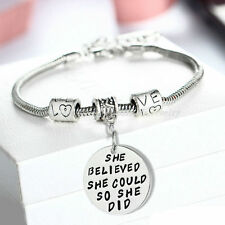 Xmas Family She Believed She Could So She Did Charm Bracelet Bangle Jewelry Gift