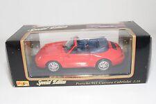 @ 1/18 MAISTO PORSCHE 911 CARRERA CABRIOLET RED MINT BOXED