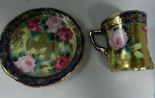 Antique Nippon Hand Painted Cocoa Cup & Saucer Cobalt Gold &  Roses