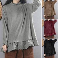 ZANZEA Women Long Sleeve Shirt Patchwork Round Neck Loose Oversize Tops Blouse