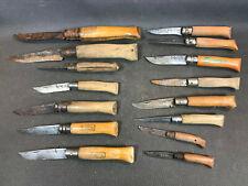 Lot de 15 anciens couteaux pliant Opinel différents formats à restaurer