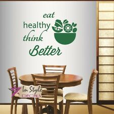 Vinyl Wall Decal Eat Healthy Phrase Salad Bowl Vegetarian Food Restaurant Cafe