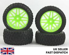 4 x 8-Spoke Verde Ruote & Knobbly Pinza Pneumatici 1/10° Buggy / Auto Rc Pre
