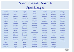 Year 3 and Year 4 Spellings Laminated Word Mat. Education Vocabulary Children A4