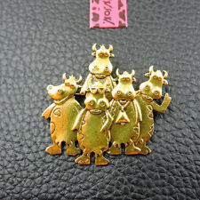 Betsey Johnson Animal Charm Brooch Pin Gifts Woman's Gold Enamel Cute Cow
