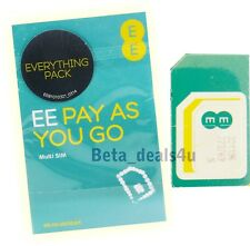 UFFICIALE EE rete mobile pay as you go NANO MICRO STANDARD SIM CARD PAYG 4 G Uk