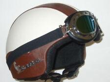 Casco D-JET Helmet Capacete In Ecopelle e occhiali MARRONE BEIGE VESPA TAGLIA L