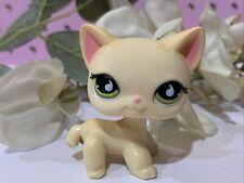 Littlest Pet Shop Authentic LPS 733 Cream Striped Short Hair Cat Green Blemished