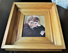 Vintage Oil Painting of Young Boy -w- Freckles Adorable Signed A. Fletcher