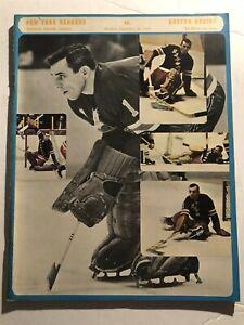 1970 BOSTON BRUINS vs NEW YORK RANGERS Program GIACOMIN Gilbert HADFIELD Bob ORR