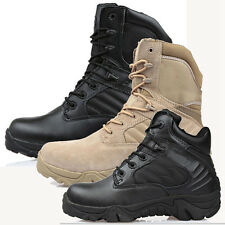 Men Military Tactical Leather Boots Desert Combat Outdoor Army Hiking Shoes