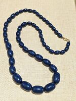 Vintage Gold Tone Navy Blue Acrylic Bead Necklace Graduated