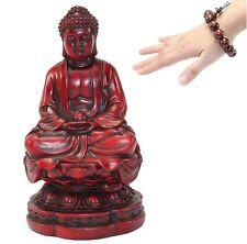 "Feng Shui Meditating Set 4.5"" Buddha Statue w Wood Beads Bracelet Peace Blessing"