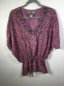 Tienda Ho womens purple geometric boho blouse top shirt free size short sleeve