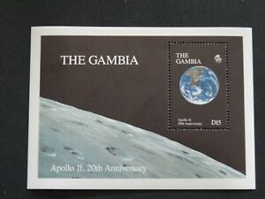 Gambia Stamps SG MS 998b View of Earth from Moon 20th Anniv of  Apollo 11 Lands.