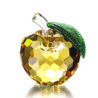 Yellow 3D Crystal Paperweight Glaze Apple Figurine Glass Wedding Decor Gift 60mm