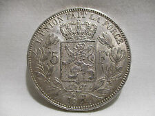 ANCIENNE PIECE 5 FRANCS BELGE LEOPOLD II ARGENT 1874  OLD COIN SILVER