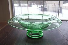 Depression Green Glass Rolled Rim Etched Floral Design Footed Console Bowl