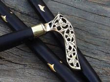 Antique Style Victorian Cane Wooden Walking Stick Vintage Solid Brass Handle