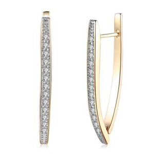 18K REAL GOLD FILLED LONG HOOP EARRINGS MADE WITH SWAROVSKI CRYSTALS GIFT GF14A