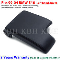 Leather Armrest Console Lid Cover Skin for BMW E46 3 Series 1999-2005 Black LHD