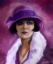 Dipinto originale olio su tela ritratto da Gregory Tillett: la lavanda LADY