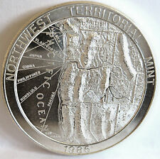 .999 FINE SILVER MAP TRADE UNIT 1986 HIGH RELIEF NORTHWEST TERRITORIAL 1 TROY OZ