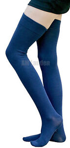 AM Landen®BLUE Cotton Thigh High Socks Available in Size: L and XL-Wide